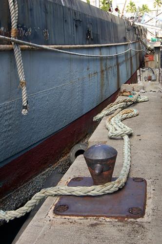 along starboard side