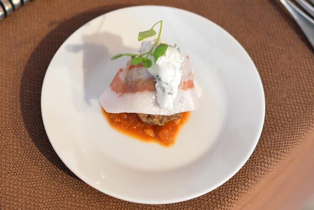 Ford's Filling Station lamb meatballs, tomato chutney, gianciale, cilantro yogurt