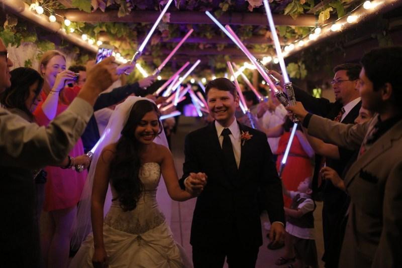 Light saber wedding grand exit