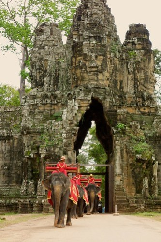 Elephants at South Gate of Angkor Thom