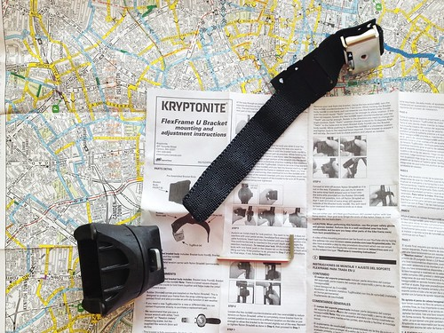 Kryptonite lock holder and cycle map of London