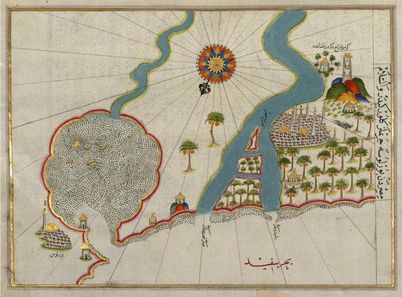 The Maps of Piri Reis     The Public Domain Review     Map of the River Nile Estuary with the Cities of Rashid and Burullus on  Each Side