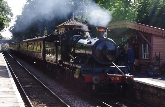 9351, WSR Mogul pulling into Crowcombe station, 6th October 2012