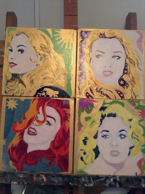 On my easel right now: 4 acrylic on canvas paintings