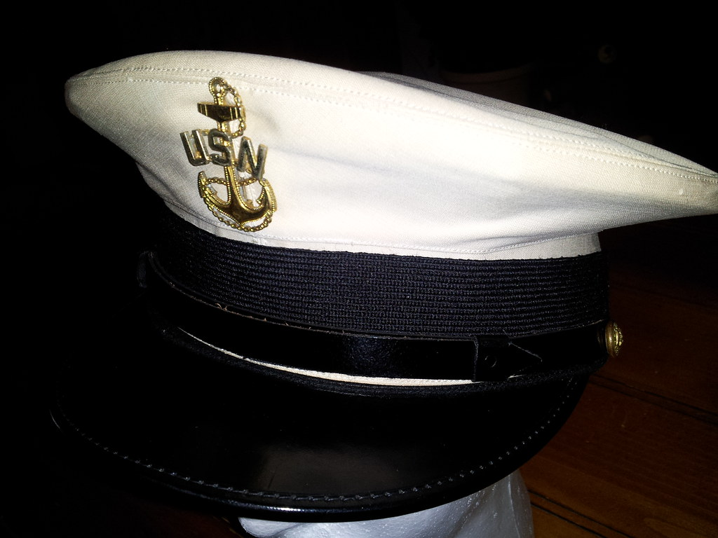 WWII CPO combination cap with white cover