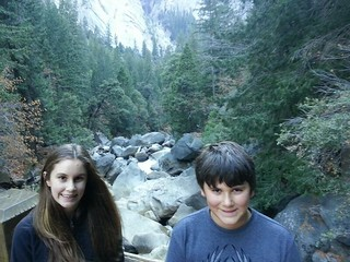 Isabel and Tony at Vernal Falls Bridge in Yosemite.