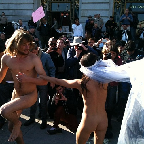 Nude activist @gypsytaub cited and released at her San Francisco city hall wedding today. As expected. #naked #sanfrancisco by eric.louie