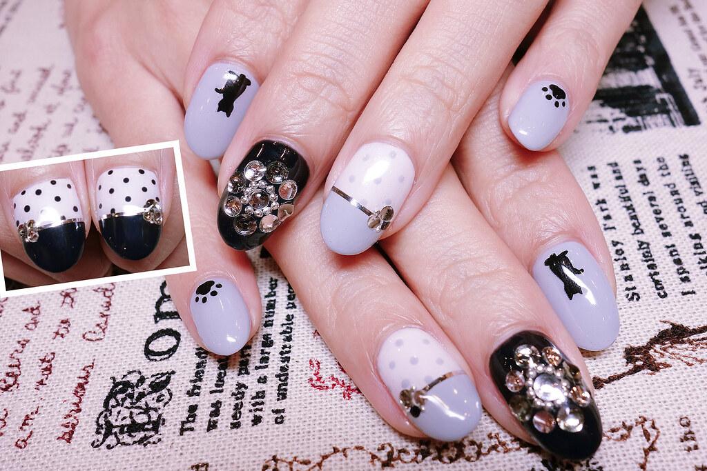 黑白經典光療指甲