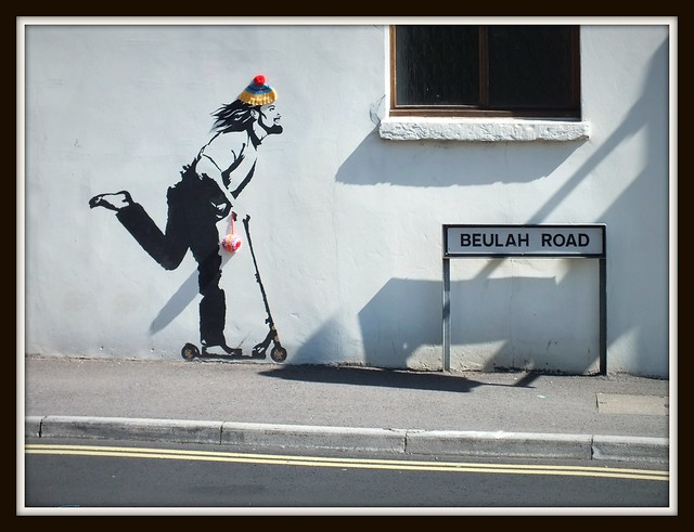 Skating Jesus graffiti in Rhiwbina, Cardiff