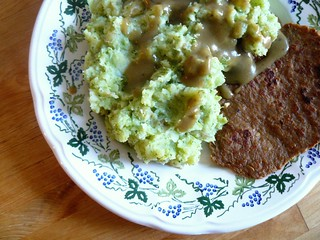 Broccoli & potato mash with soy-tan cutlets and chickpea gravy
