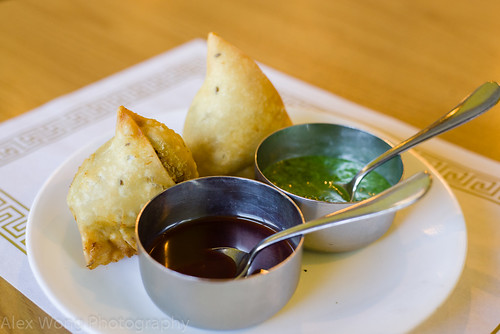 Vegetable Samosas, Tamarind and Coriander Sauces