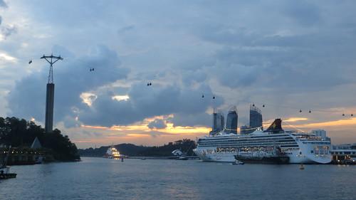 dusk by the island