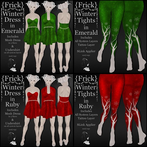 {Frick} Winter Dress & Tights in Emerald & Ruby