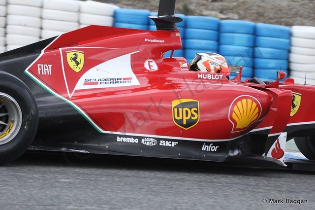 Kimi Raikkonen in his Ferrari at Formula One Winter Testing 2014