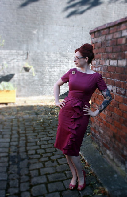 Burgundy ruffle dress front