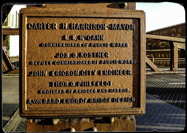 Carter H Harrison Mayor marker  Chicago Avenue Bridge