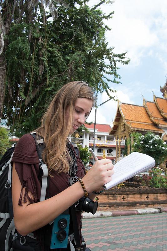 Linsay at Wat Bupparam, Chiang Mai