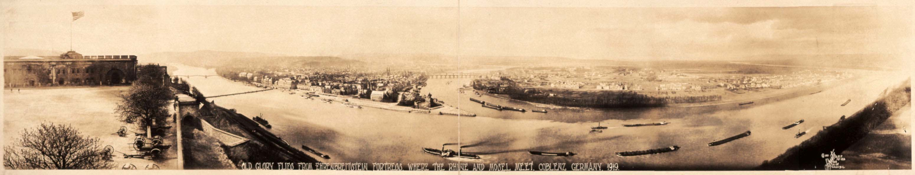 Library of Congress, Old Glory flies from Ehrenbreitstein fortress, where the Rhine and Mosel meet, Coblenz, Germany, 1919, view from Festung Ehrenbreitstein in Koblenz