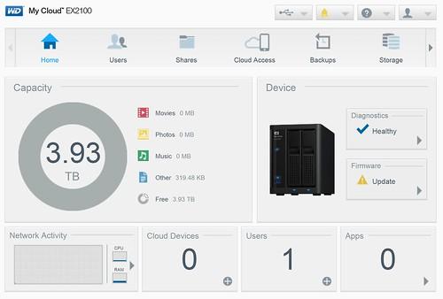 WD My Cloud EX2100 - Dashboard