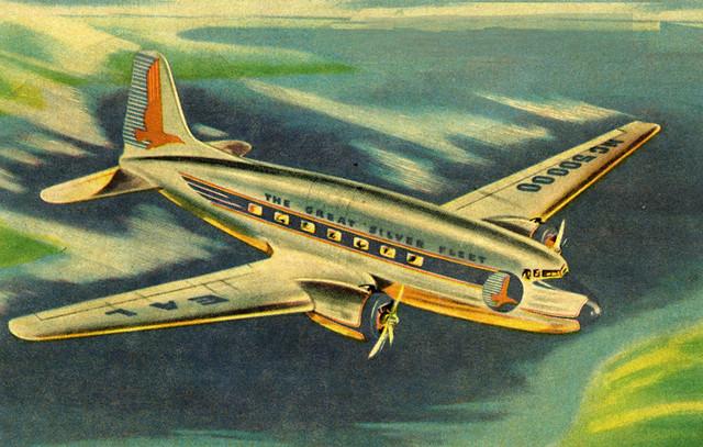 Vintage plane blue sky