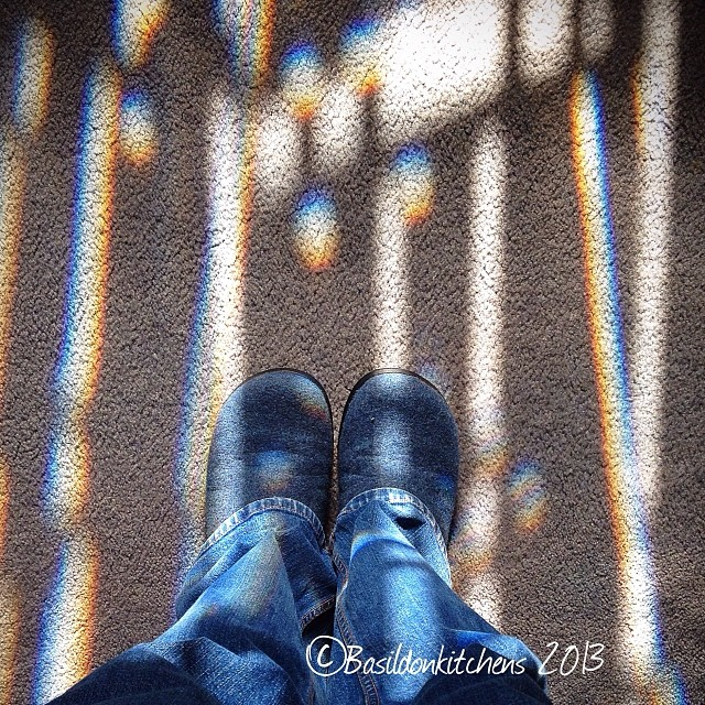 Nov 14 - dressing up {this is as good as it's going to get today; blue jeans, flannel slippers & & sunshine streaming through our front door} #photoaday #dressingup #jeans #slippers #sunshine