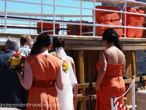 Bridal party setting sail