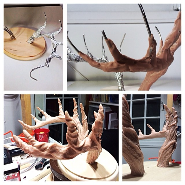 Some #process photos of #muertita antlers using wire, foil, and #supersculpy