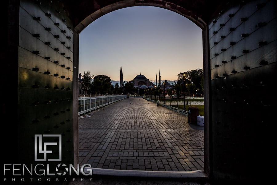Sunrise at Sultanahmet Blue Mosque looking at Hagia Sophia