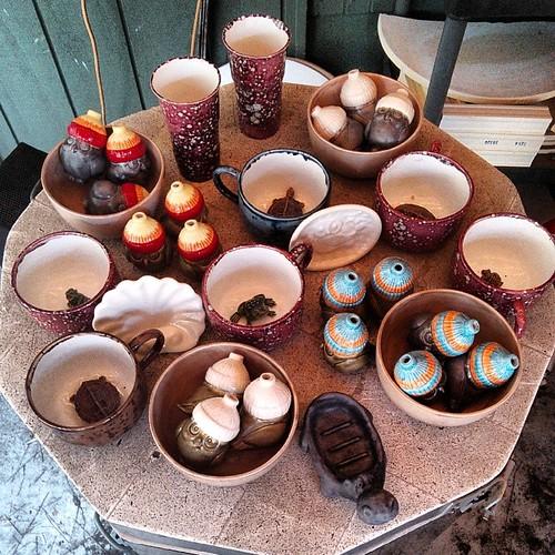 Fresh from the HaldeKiln #ceramics #kiln #christmasornaments #owls #turtles #frogs #hippo #mugs #bowls