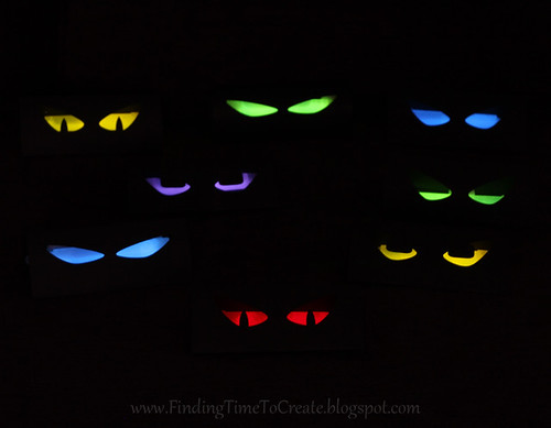 Spooky eyes finding time to create for Glow sticks in toilet paper rolls