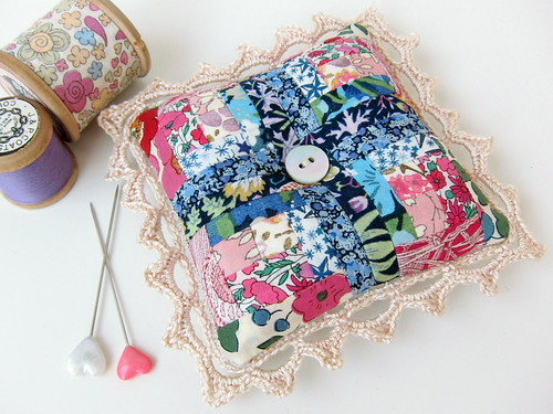 Log cabin pincushion using Liberty with hand crocheted edging