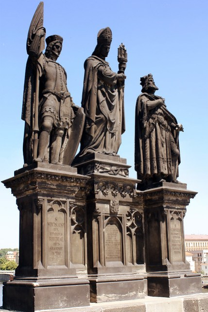 Statue of Saints Norbert of Xanten, Wenceslas and Sigismund on Charles Bridge in Prague.