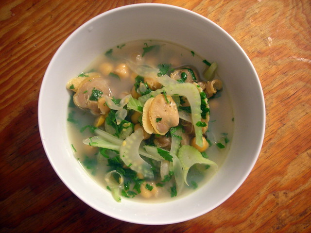 Wild littleneck clams, with fennel, chickpeas and Meyer lemon