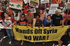 NO  U.S.  BOMBING  OF  SYRIA   /  Hands Off Syria  /   NO  WAR    -    Protest march  from Times Square  to  Union Square,  Manhattan  NYC   -   09/07/2013