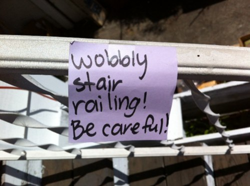 Wobbly stair railing