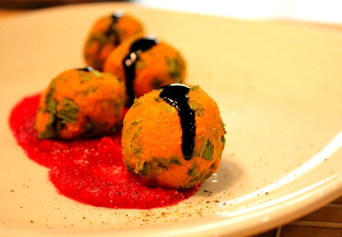 sweet potato and kale balls
