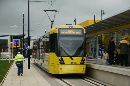 East of the M60's Icon of 2013: Flexity Swift M5000 tram 3060 loading at Ashton-under-Lyne on the first day of Metrolink operations.