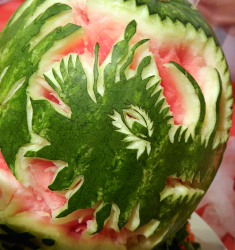Chinese New Year's Dragon Carved into a Watermelon