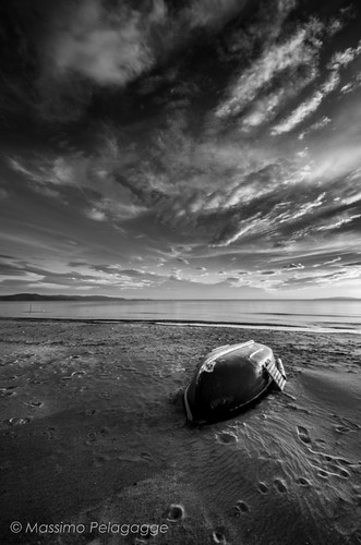 b&w Follonica Sunset by Massimo Pelagagge