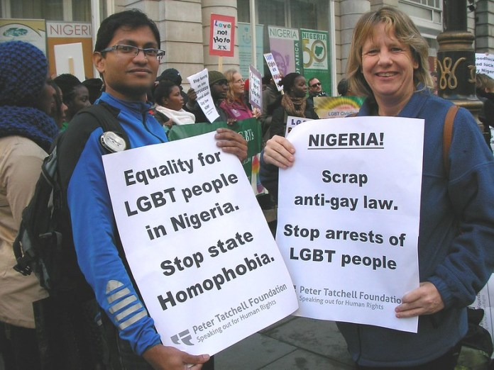 Repeal Anti-Gay Law Now!; LGBT Rights are human rights; and Equality for LGBT people in Nigeria. Stop State Homophobia.