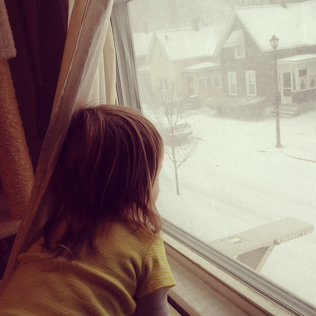 Watching the snow fall.