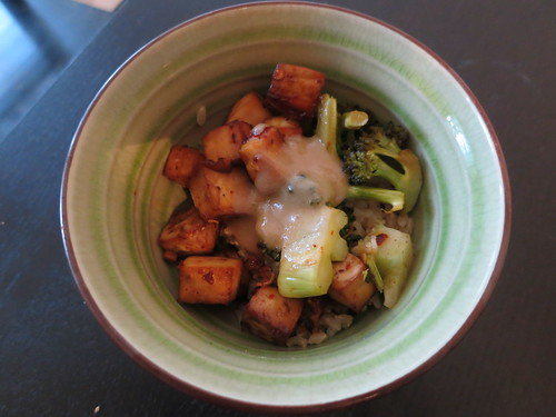 Roasted tofu and broccoli with maple tahini dressing