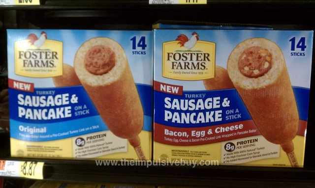 Foster Farms Turkey Sausage & Pancake on a Stick (Original and Bacon, Egg & Cheese)