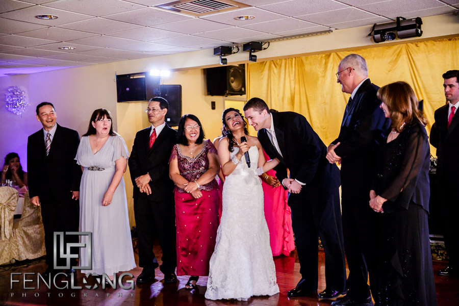 Parents and bride and groom make speeches