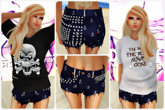 TCF NOISE Tees + Kennedy's Mesh Studded Jean Shorts