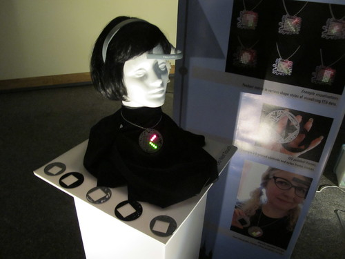 Mood lighting on my EEG Visualising Pendant at Design Exhibition teardown