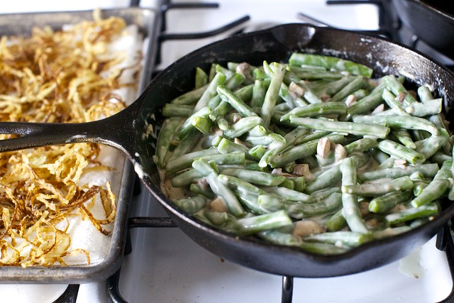 crispy onions + green beans in mushroom cream sauce
