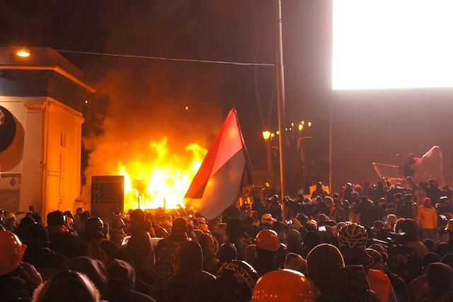 Clashes on Hrushevskoho Street in Kiev, Ukraine.