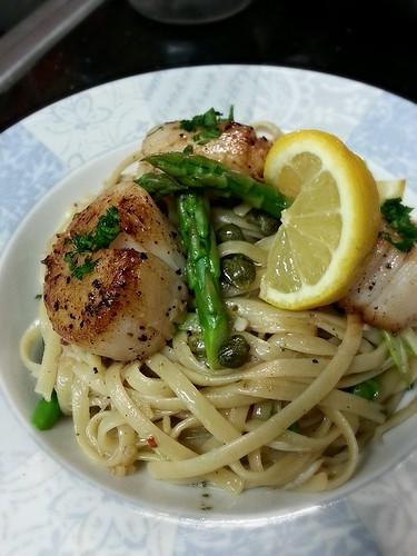 pan seared scallop and crab linguine with lemon, capers, shallots, and white wine sauce by pipsyq