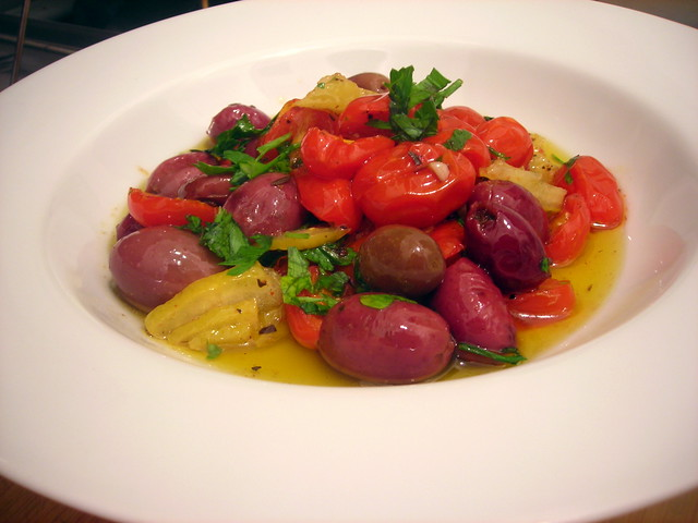 Quick tomato confit, with roasted olives and preserved lemon